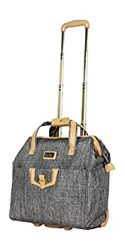 Nicole Miller Underseat Luggage Collection - Small Lightweight 15 Inch Under Seat Bag - Briefcase for Women - Carry On Suitcase with 2- Rolling Spinner Wheels  Paige Silver