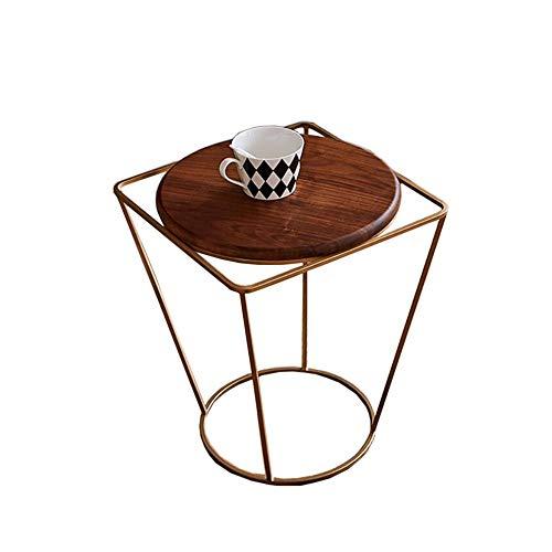 Jcnfa-bijzettafel Rond/vierkant smeedijzeren salontafel, Multifunctionele bijzettafel in de woonkamer, Messing metalen lijn bijzettafel, Metal Side End Table Stand