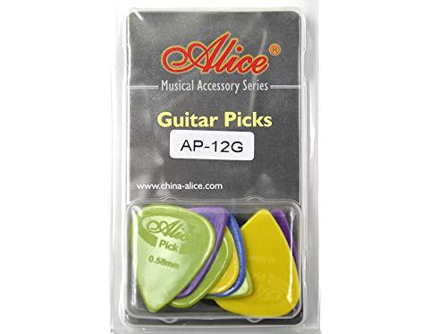 Alice アリス AP-12P ABS、ナイロン、セルロイド ギター ピック プレクトラム パック厚さ色混合 透明な包み (AP-12G)
