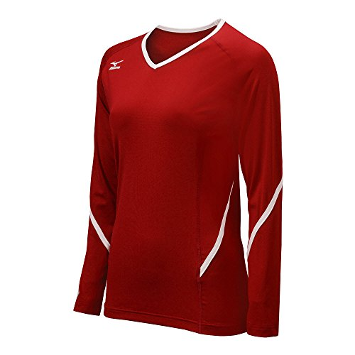 Mizuno Damen Techno Generation Long Sleeve Jersey, Damen, rot/weiß, XL