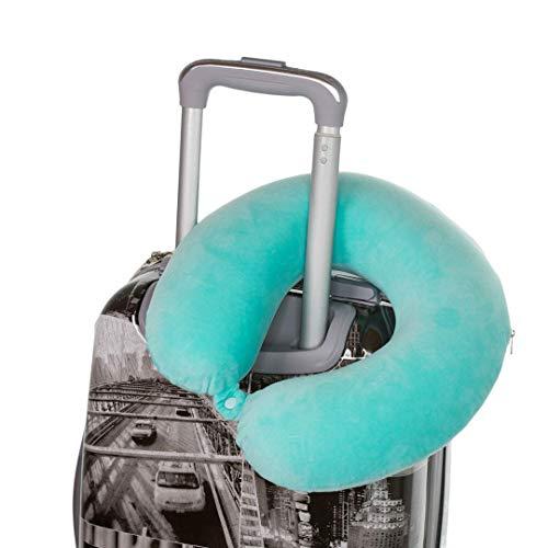 Comfy Nackenhörnchen mit Druckknopf | Nackenstütze | Nackenrolle | Reisekissen | Memory-Schaum-Füllung | waschbar - Abnehmbarer Bezug | Grün-Blau