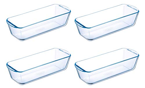 Pyrex Prep & Bake Glass Loaf Dishes - Set of 4 - High Heat Resistance Borosilicate Glass - 28.2 x 11.8 x 7.5 cm, 1.5 litres