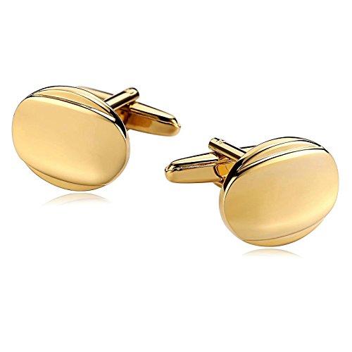 Epinki Mode Herren Klassisch Hemd Manschettenknöpfe Formal Geschäft Hochzeitshemd Edelstahl Glattes Gesicht Oval Form Gold