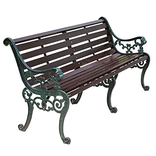 STEPPE Banco Jardin Madera para Todo Clima De 2 Asientos, Apoyabrazos Estilo Cabeza De León Diseño De Listones con/Respaldo Outdoor Garden Bench
