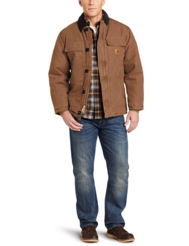 Carhartt Men's Big & Tall Arctic-Quilt Lined Sandstone Duck Traditional Coat C26,Carhartt Brown,X-Large Tall