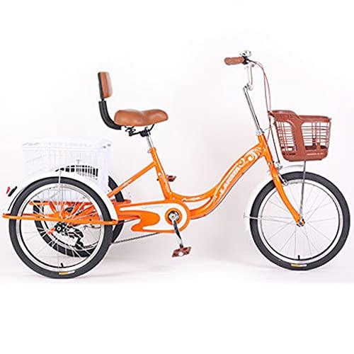 ZNND Bicicletas reclinadas Triciclo Adulto 3 Ruedas Trike Crucero Bicicleta Sola Velocidad 20 Pulgadas Tres Ruedas con Respaldo Y Canasta De Carga para Personas Mayores Hombres (Color : Orange)