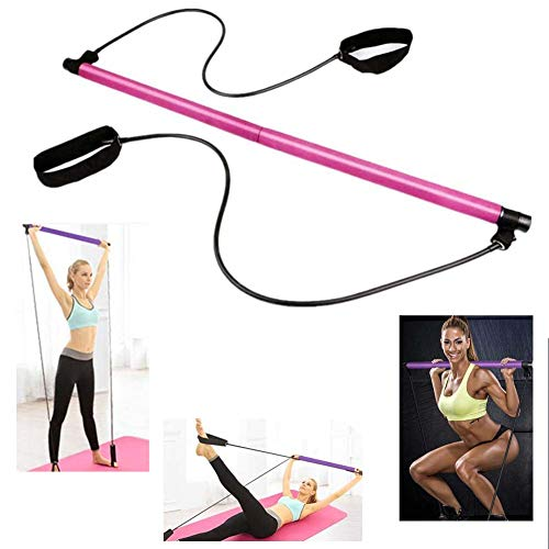 Adayn Portable Pilates Bar Kit with Resistance Band Pilates Exercise Stick Toning Bar (Rosado)