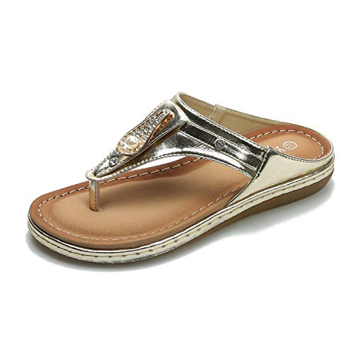 ZAPZEAL Sandalen Damen Sommer Flip Flops Bohemia Flache Schuhe Geflochtene T-Strap Strand Hausschuhe,Gold 41 EU