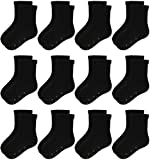 Jamegio 12 Pairs Non Skid Toddler Socks Anti Slip Crew Socks with Grips for Baby Boys Girls(2-4 Years)