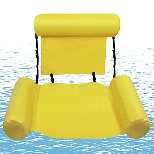 O-Kinee Hamaca Flotante Piscina, Hamaca de Agua, Portátil Agua Hamaca, Hamaca Flotante, Cama Flotante de Agua, Inflable Playa Cama Flotante Sillón, Flotador Piscina Playa (Amarillo)