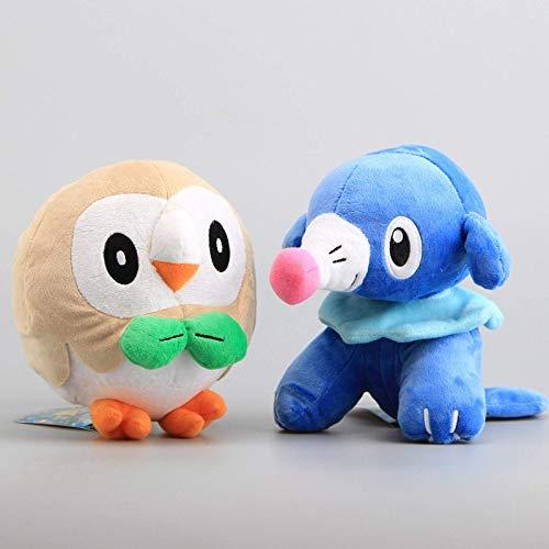 RONGZUN 2pcs Rowlet y Popplio Puppet Toy Puppet 20cm, Dulce Dibujos Animados Animal, Colección de cojín Suave Regalo