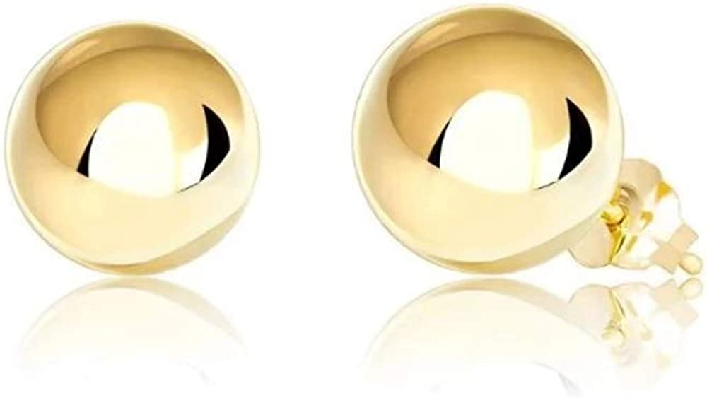 Premium 14K Gold Ball Stud Earrings with Bright Finish | Post Tension Back | 3mm - 10mm | Gold Earrings for Women
