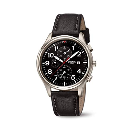 Boccia Herren Chronograph Quarz Uhr mit Leder Armband 3756-04