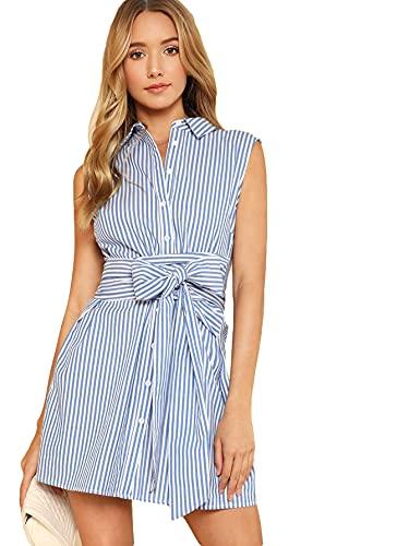 Romwe Women's Cute Sleeveless Striped Belted Button Up Summer Slim Short Shirt Dress Blue L