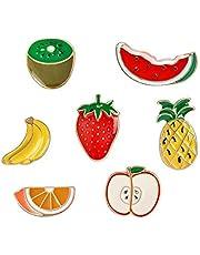 Carino spilla frutta, serie di cartoni animati lega gocciolare distintivo vari frutti vestiti zaino decorazione 7 pezzi