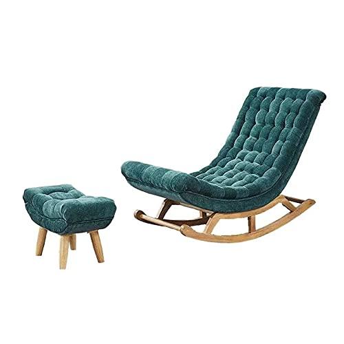KUYH Silla mecedora de sala de estar, silla mecedora de madera maciza de gamuza, silla de sofá perezoso, silla de salón, cómoda y duradera, con pedal, verde oscuro