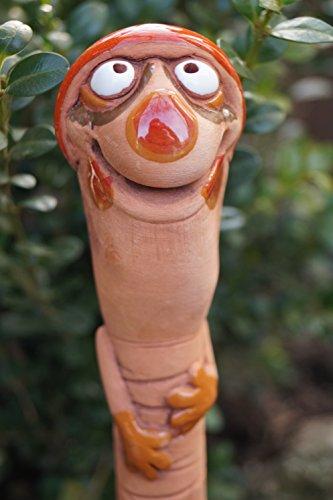 TB Keramik Gartenwurm Schlafmütze zum Stecken Gartenkeramik Wurm Dekoration