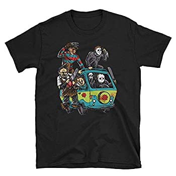 Halloween Horror Characters in Scooby Doo Mystery Machine T-Shirt, XL