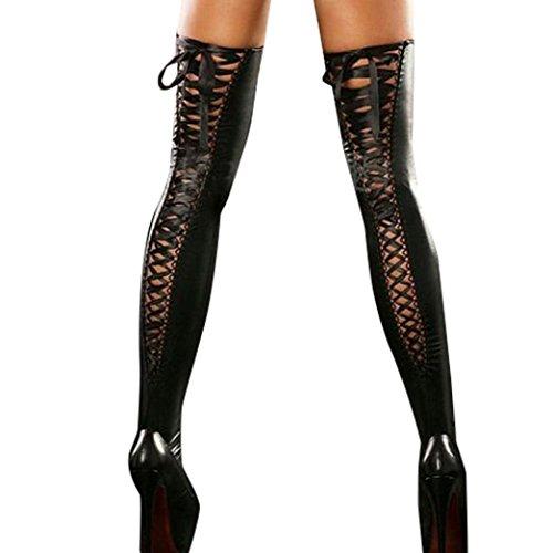 style_dress overknee strümpfe Damen Leder Socken Stützstrümpfe Frauen elastische Kniestrümpfe Spitze Oberschenkel Strumpf Strumpfhosen Strapsstrümpfe b (Schwarz)