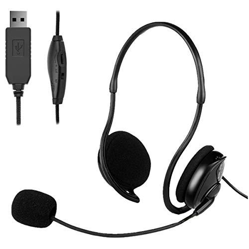 GAMRY USB-Headset Computer-Headset mit Mikrofon zur Geräuschunterdrückung, leichtes PC-Headset Kabelgebundene Kopfhörer Business-Headset für Skype-Webinar Handy-Callcenter