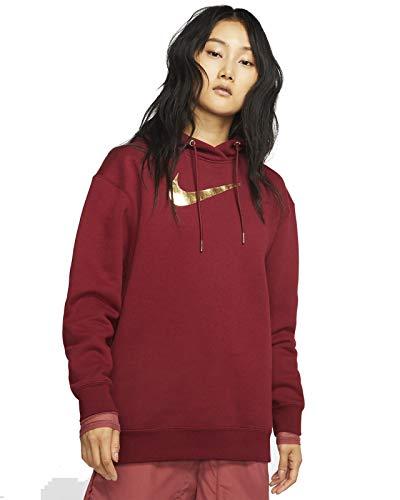Nike Damen BB Shine Sweatshirt, Team Red/Team Red/Metallic GOL, S