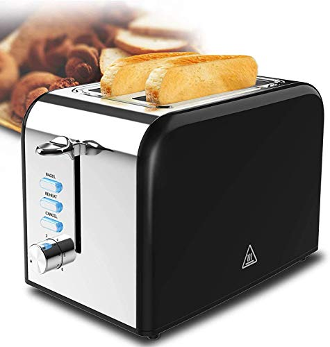 Toaster 2 Slice best rated prime Quickly Black Stainless Steel Bagel Toaster With 6 Shade Settings and Removable Crumb Tray for Bread Waffles