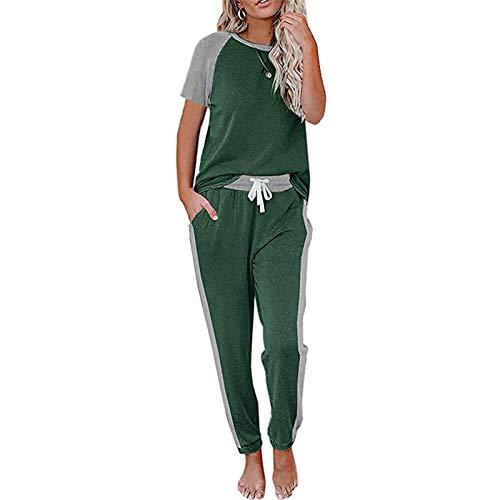 I3CKIZCE Conjunto de chándal de 2 piezas para mujer, de manga corta, color a juego con top y pantalones largos de correr con cordón en la cintura, tallas S-XXL Verde militar. M