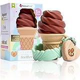 Giocattolo per la dentizione in silicone NatureBond - Giocattolo per la dentizione a forma di gelato con clip gratuita in silicone con porta ciuccio   5 bei colori   Senza BPA (Cioccolato - Marrone)