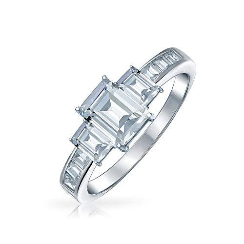 Bling Jewelry Estilo Art Deco 2Ct Rectángulo Emerald Cut 3 Stone Pasado Presente La Futura Promesa CZ Anillo De Compromiso 925