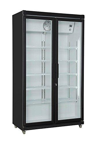Getränkekühlschrank schwarz 197,5 x 112 x 59 cm | Flaschenkühlung, Bierkühlung | Glastür-Kühlschrank mit XXL Stauraum | Gastronomie Kühlschrank mit hohem Kühlvolumen 850 Liter