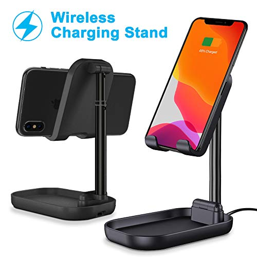Phone Stand Wireless Charger, KINGXBAR Angle & Height Adjustable Cell Phone Wireless Charging Stand Foldable Phone Dock Desktop Holder for Live Stream, Video Compatible with All Qi-Enabled Phones