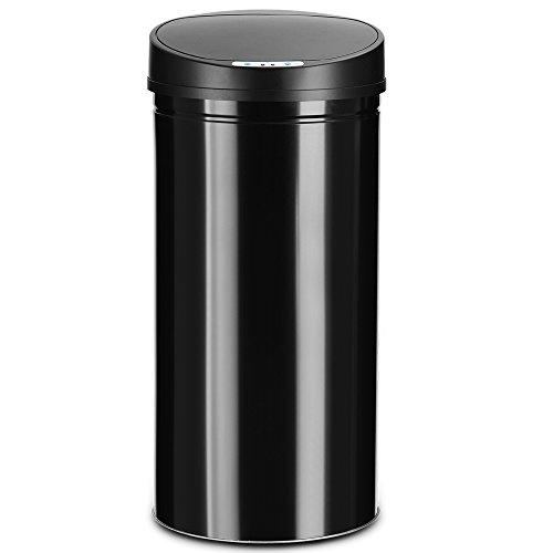 *Deuba Sensor Mülleimer 56L Abfalleimer mit LED Funktionsanzeige Automatik Müllbehälter Abfallbehälter Edelstahl Papierkorb mit Bewegungssensor und Deckel schwarz*
