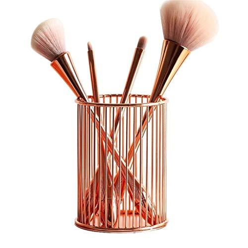 DYXYH Nordic Hollow Out Maquillage Pinceau Pinceau Porte-Pot Organisateur Fer Rond Précédent Pencil Centre Coupe Rose Gold Maquillage Cosmétique Organisateur (Color : Rose Gold)