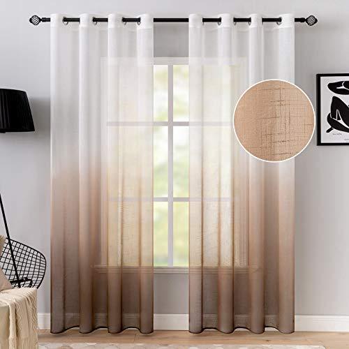 MIULEE 2er Set Voile Vorhang Sheer Gradient Leinenvorhang mit Ösen Transparente Leinen Optik Gardine Ösenschal Fensterschal Lichtdurchlässig Dekoschal für Schlafzimmer 245 x 140cm (H x B) Kaffee