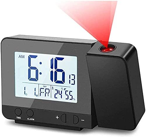 Deofde Sveglia con proiezione, Sveglia Digitale con Ampio Display LCD, Orologio Digitale con Doppio Allarme, Funzione Snooze, Timer di Standby, 12   24h, termometro Interno