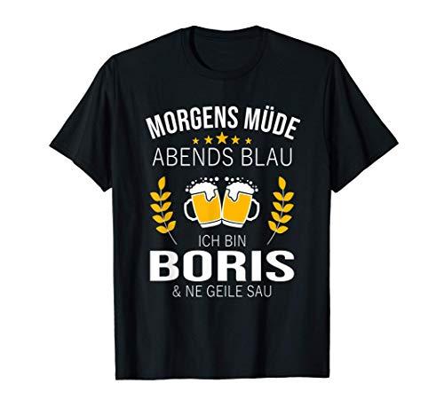 Herren Boris Vorname Geschenk Geburtstag Lustiges Bier Sprüche T-Shirt