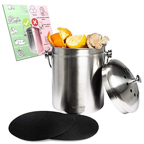 VeoHome Komposteimer Küchen-Kompostbehälter mit Aktivkohlefilter (5L) - rostfreier Edelstahl, 100% luftdicht, um Geruch aus organischen Lebensmittelresten zu Hause