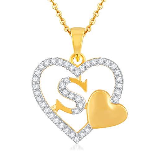 Kanak Jewels Love Heart Pendent 'S' Letter Gold Plated for Girls Women Men Unisex Couple Alphabet Pendant in American Diamond...