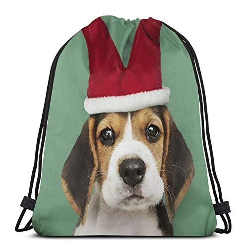Beagle Puppy Jester Hat Print Drawstring Bapa Sapa String Bag Cinch Impermeable Nylon Beach Bag para Gimnasio Compras Deporte Yoga
