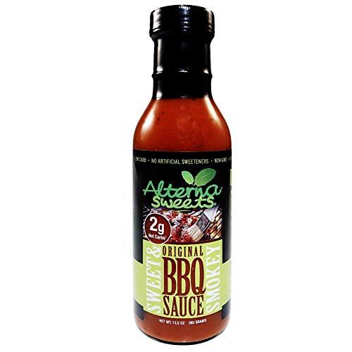 AlternaSweets Sweet & Smokey BBQ Sauce - 13.5 oz - Stevia Sweetened - Low Carb - KETO/Paleo/Atkins/Diabetic Friendly - Non GMO - Gluten Free