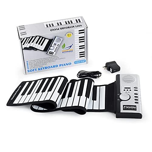 Breezee Market Teclado Piano Flexible 61Teclas Plegable Entrada Para Audifonos Midi Flexible Roll Up Digital Con Bocinas, keyboard 128...