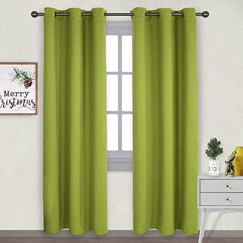 NICETOWN Window Treatment Thermal Insulated Solid Grommet Blackout Curtains/Drapes for Bedroom on Christmas & Thanksgiving (2-Pack, 42 by 84 Long, Fresh Green)