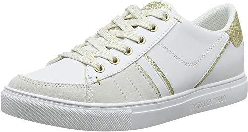Trussardi Jeans Sneakers Gymnastikschuhe, Weiß (White/Gold W007), 35 EU
