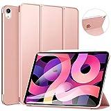 ZtotopCase Funda para iPad Air 4 10.9' 2020/ iPad Pro 11 2018, Ultrafina Cubierta Trasera Translúcida Smart iPad 10.9 Cover con Soporte Triple, Función Auto Sueño/Estela, Oro Rosa