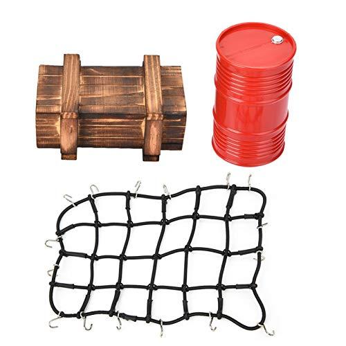 Dilwe RC Coche Tambor de Aceite Caja de Red de Equipaje, Red de Equipaje de Control Remoto Tambor de Aceite Decorativo Caja de Madera Set para 1/10 Escala RC Crawler Car