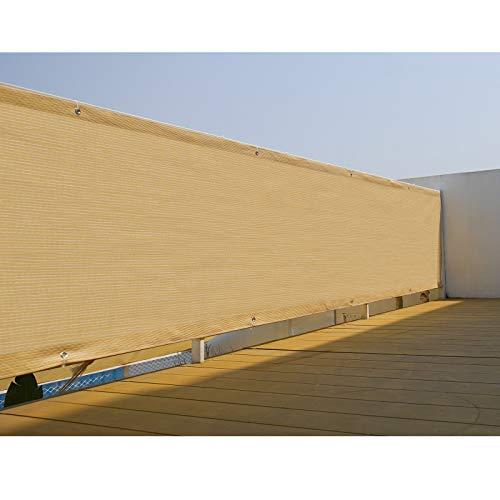 U/D - Protector de parabrisas para valla de privacidad, tela de 3 x 12 pies, tela de malla con ojales de latón resistentes para balcón, cubierta de porche, al aire libre, patio...