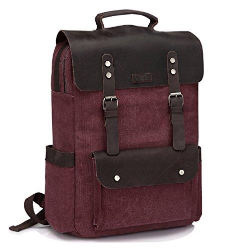 Vintage Rucksack Damen, VASCHY Leder Leinwand 15 Zoll Laptop Rucksack Schulrucksack für Mädchen Teenager Hochschule Studenten Business Frau Burgund
