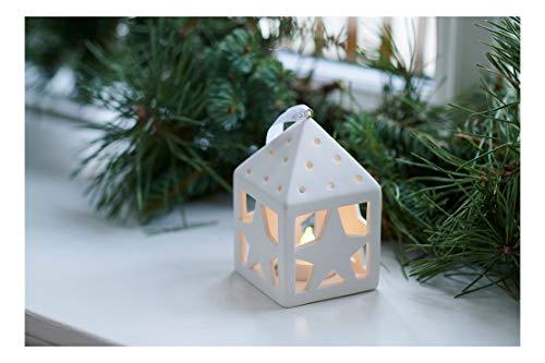 Sirius LED Dekolaterne Olina Star Keramik weiß batteriebetrieben