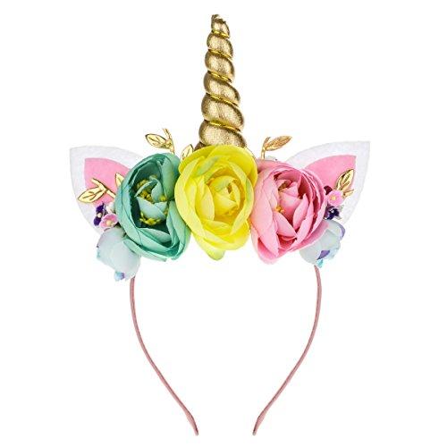 Floral Fall Einhorn Horn Stirnband Ohren Foto Requisiten Mädchen Geburtstag Outfit Squishy Cheeks DJ-01 - Pink - Medium