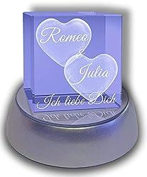 3Dglas Glaswürfel mit Zwei großen Herzen - mit Gravur - mit LED Leuchtsockel